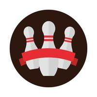 bowling pins with red ribbon emblem game recreational sport block flat icon design vector