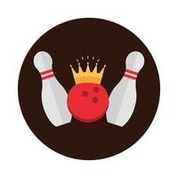 bowling skittles ball with crown game recreational sport block flat icon design vector