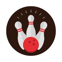 bowling game ball touching white skittles on a white background block flat icon design vector