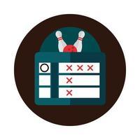 bowling score board tournament game recreational sport block flat icon design vector