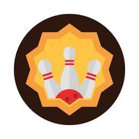 bowling pins and ball championship game recreational sport label block flat icon design vector