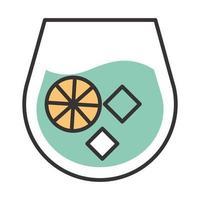icono de cóctel bebida de cítricos licor línea de alcohol refrescante y diseño de relleno vector