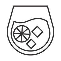 icono de cóctel bebida de cítricos licor alcohol refrescante diseño de estilo de línea vector