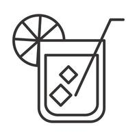 cocktail icon glass with iced drink liquor refreshing alcohol line style design vector