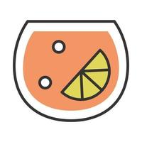 cocktail icon lime bubbles drink liquor refreshing alcohol line and fill design vector