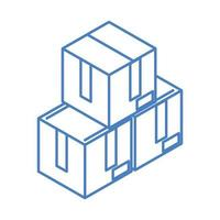 isometric stack of cardboard boxes work linear style icon design vector