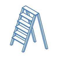 construcción de reparación isométrica herramienta y equipo de trabajo de escalera de aluminio diseño de icono de estilo lineal vector