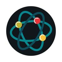 science atom molecule biology block and flat style icon vector