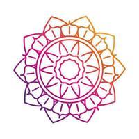 mandala motif floral decoration mystical vintage gradient style icon vector