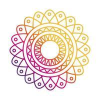 mandala motif floral decoration mystical gradient style icon vector