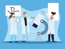 doctors microscope laboratory vector