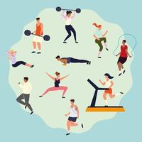 people doing fitness workout vector