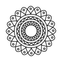 mandala motif floral decoration mystical line style icon vector