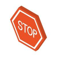 isometric repair construction stop sign board work tool and equipment flat style icon design vector