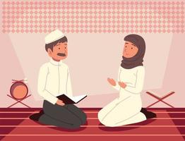 couple prayer quran vector