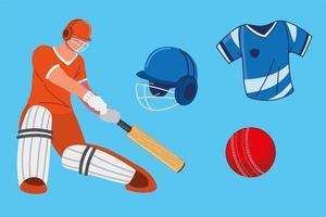 cricket player equipment vector