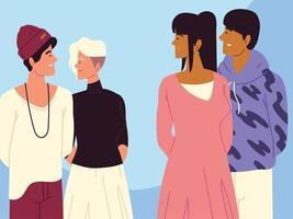 diverse friends group vector