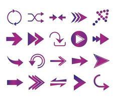 arrows direction guide cursor web navigation icons set gradient style vector