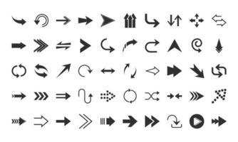 arrows direction guide cursor web navigation icons set silhouette style vector