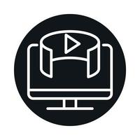 360 degree computer technology digital virtual block and line style icon design vector