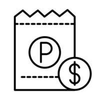 parking ticket money transport line style icon design vector