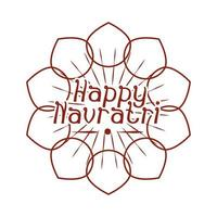 happy navratri indian celebration goddess durga culture floral banner or card silhouette style icon vector