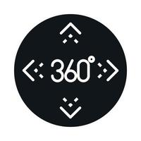 360 degree view virtual tour perspective block and line style icon design vector