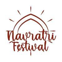 happy navratri celebration design on the occasion of hindu festival silhouette style icon vector