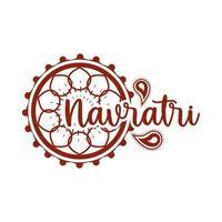 happy navratri indian celebration decoration festival banner silhouette style icon vector