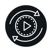 360 degree panoramic video button block and line style icon design vector