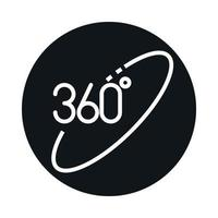 360 degree view virtual block and line style icon design vector