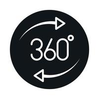 360 degree view virtual tour block and line style icon design vector