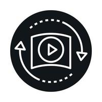 360 degree virtual video player reality block and line style icon design vector