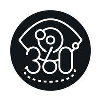 360 degree view virtual reality tour block and line style icon design vector