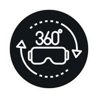 360 degree view rotation glasses virtual reality block and line style icon design vector