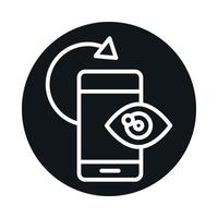 360 degree smartphone optical rotation block and line style icon design vector