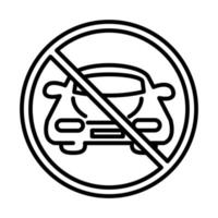 prohibited parking car transport line style icon design vector