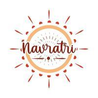 happy navratri goddess durga festival celebration hinduism flat style icon vector