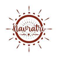 happy navratri goddess durga festival celebration hinduism silhouette style icon vector