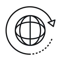 360 degree earth globe virtual rotation linear style icon design vector