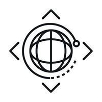360 degree world virtual rotation linear style icon design vector