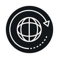 360 degree earth globe virtual rotation block and line style icon design vector
