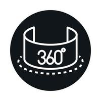 360 degree view virtual tour panoramic quality rotation block and line style icon design vector