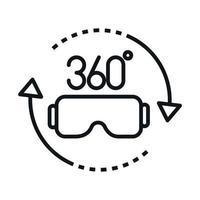 360 degree view rotation glasses virtual reality linear style icon design vector