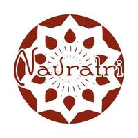 happy navratri indian celebration goddess durga festival celebration label silhouette style icon vector