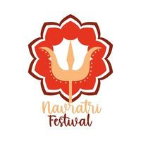 happy navratri indian celebration ornament hindu celebration flat style icon vector