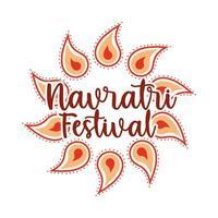 happy navratri festival indian celebration goddess durga culture flat style icon vector