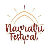 happy navratri celebration design on the occasion of hindu festival flat style icon vector