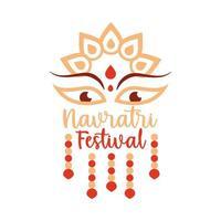 happy navratri indian celebration goddess durga culture decoration flat style icon vector
