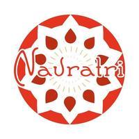 happy navratri indian celebration goddess durga festival celebration label flat style icon vector